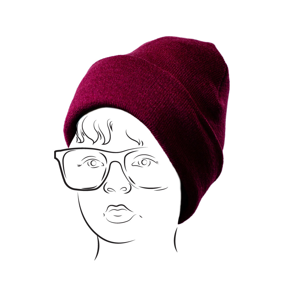 Beanie – Plain with Turn-up Maroon