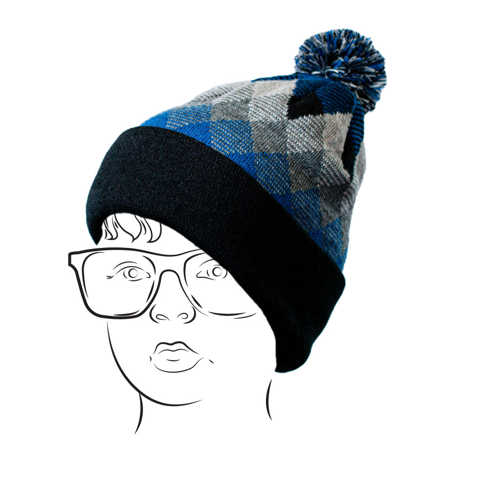 Beanie -Argyle Design Blue