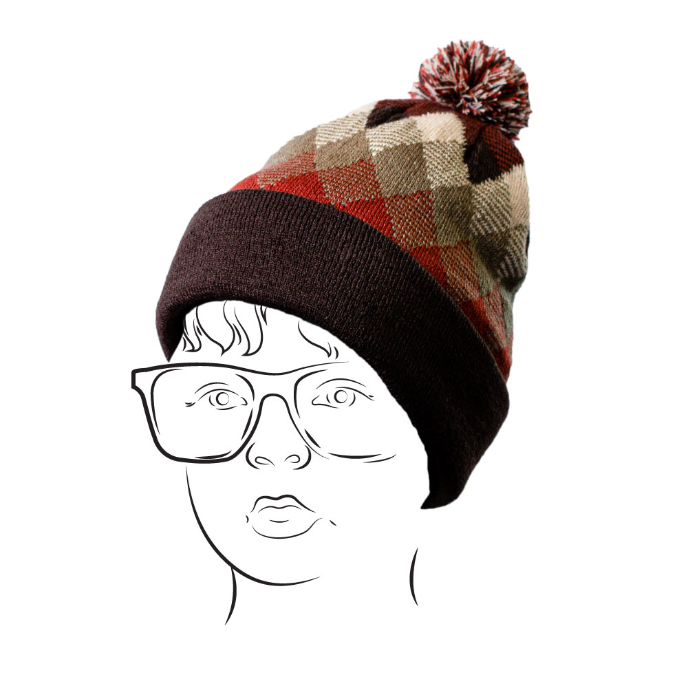 Beanie - Argyle Design Brown