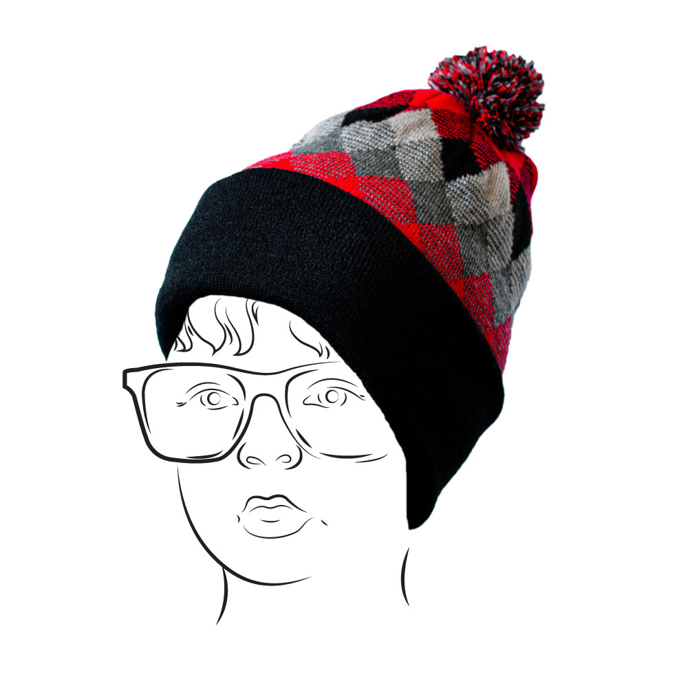 Beanie - Argyle Design Red
