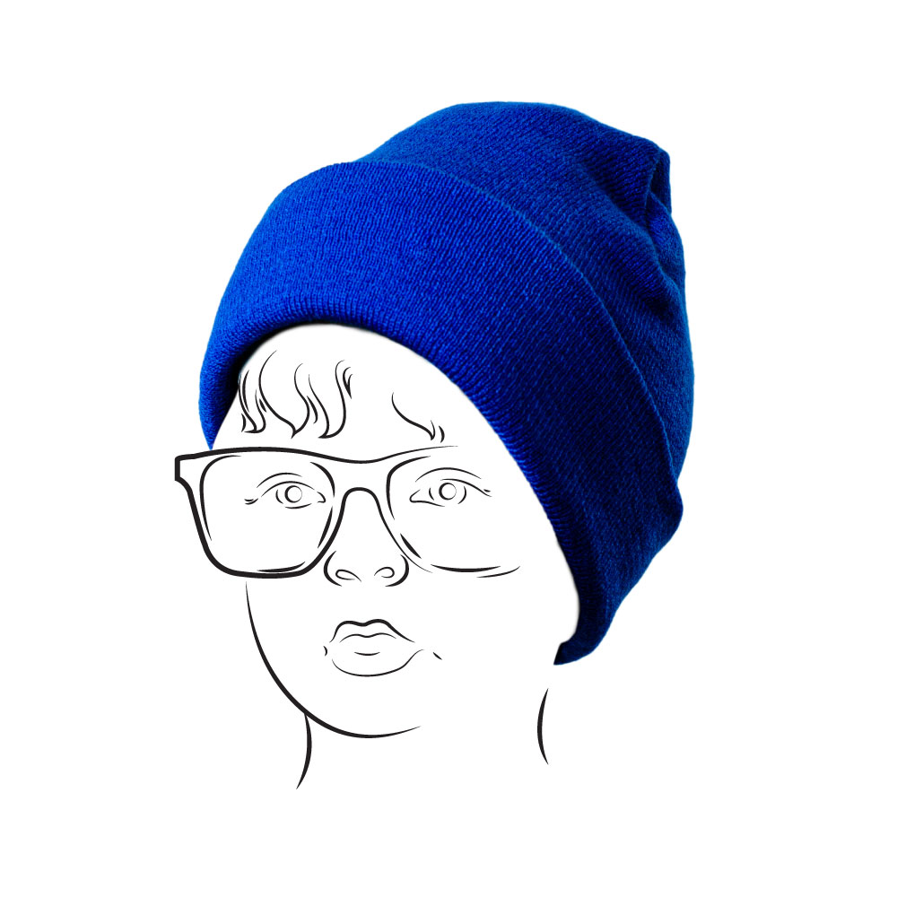 Beanie - Plain with Turn-up Royal