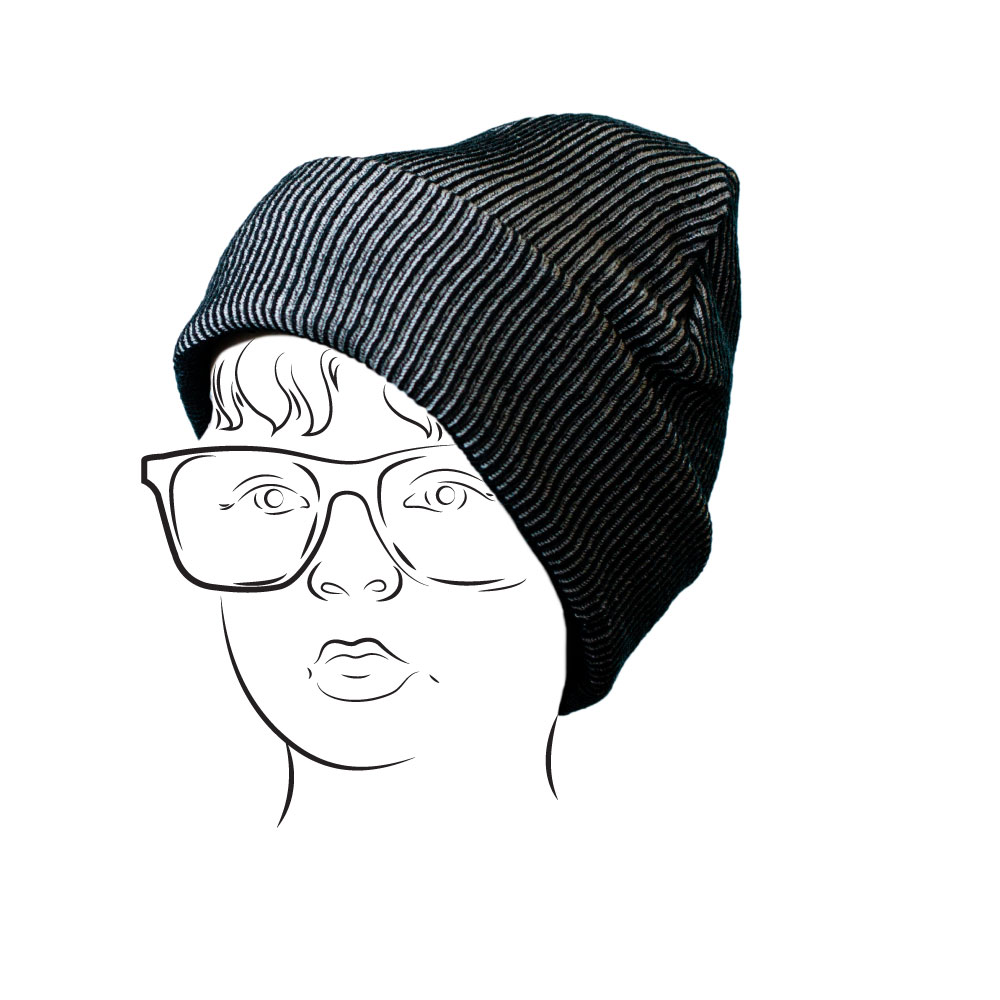 Beanie - Ribbed Design BlackGrey