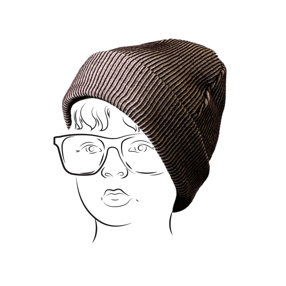 Beanie - Ribbed Design BrownBeige